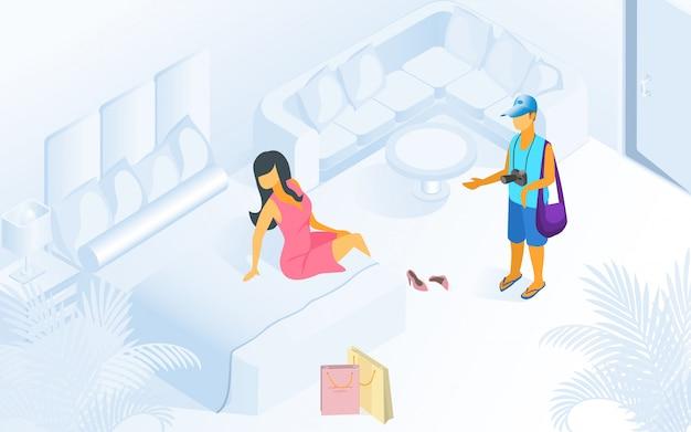 Donna sull'attesa dell'uomo del letto all'illustrazione moderna della stanza Vettore Premium