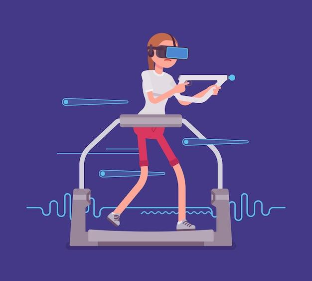 Donna vr con controller di mira sul tapis roulant da gioco Vettore Premium