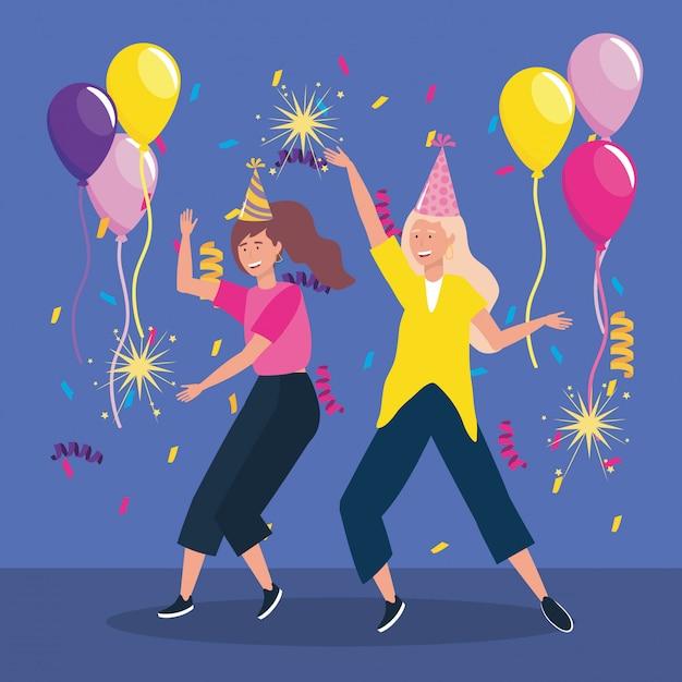 Donne carine con fuochi d'artificio cappello e scintille di partito Vettore gratuito