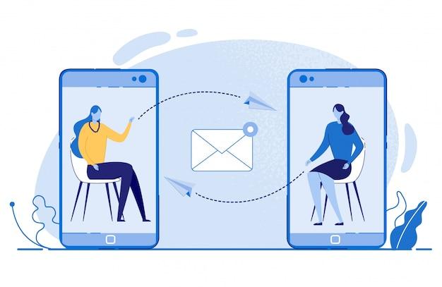 Donne che inviano messaggi tramite il vettore dei telefoni cellulari. Vettore Premium