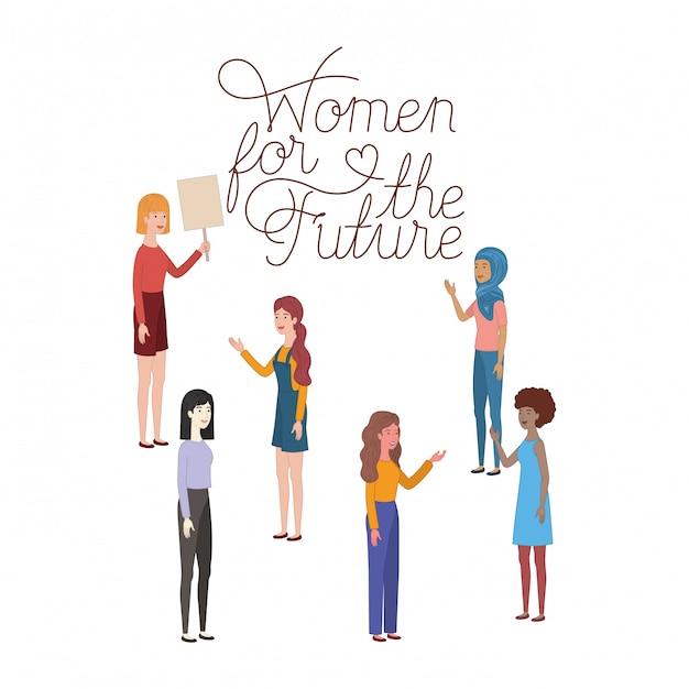 Donne con donne di etichetta per il futuro carattere Vettore Premium