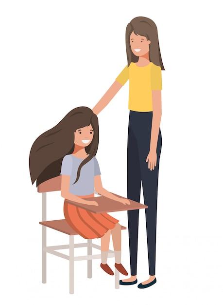 Donne con il personaggio di avatar di banco di scuola Vettore Premium