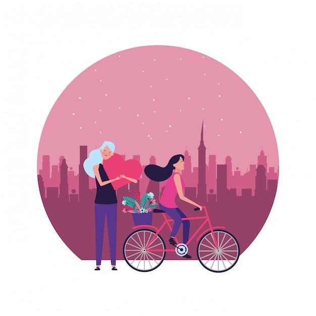 Donne con l'illustrazione rotonda del cuore e della bicicletta Vettore Premium