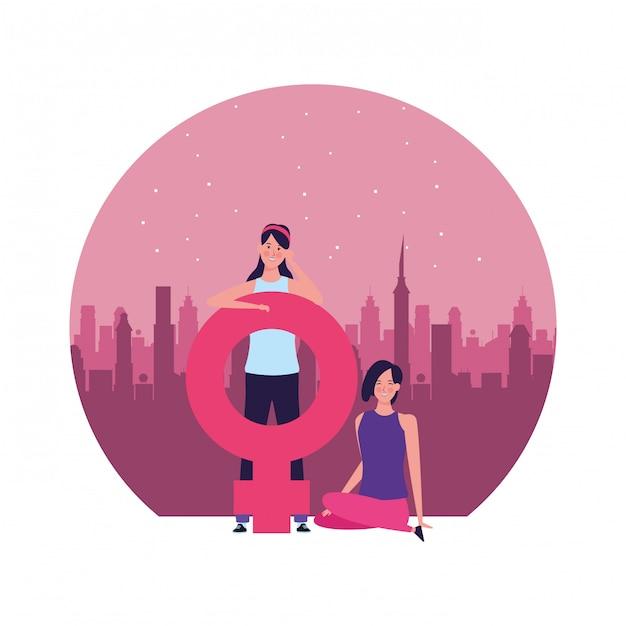 Donne con l'illustrazione rotonda di simbolo femminile Vettore Premium