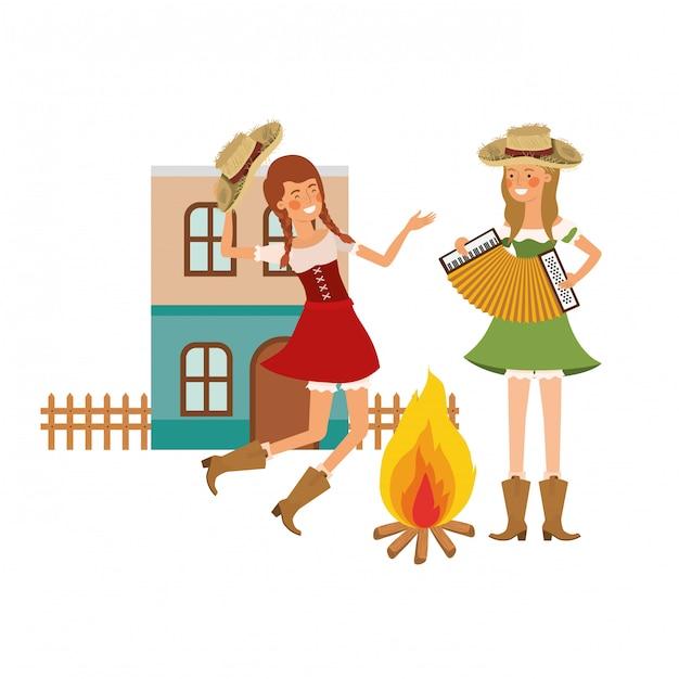 Donne contadine con strumenti musicali Vettore gratuito