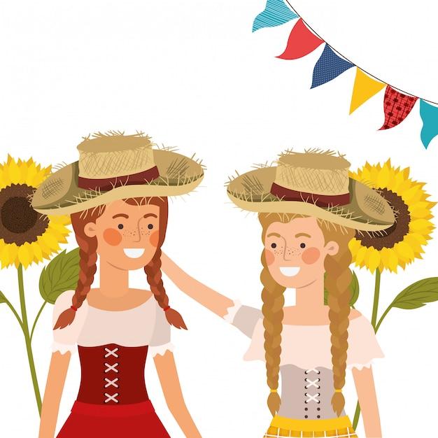 Donne degli agricoltori che parlano con il cappello di paglia Vettore gratuito