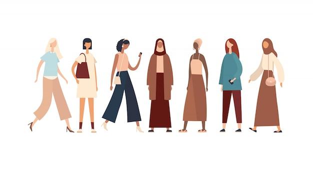 Donne di varie razze e culture. illustrazione Vettore Premium