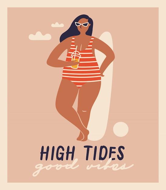 Donne disegnate a mano di vettore isolato sulla spiaggia. divertenti illustrazioni per il design. Vettore Premium