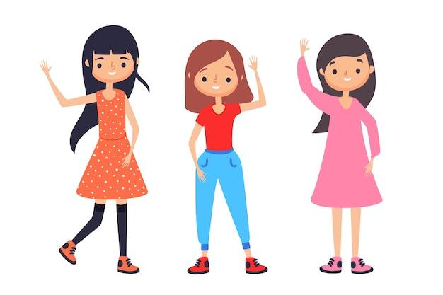 Donne felici agitando le mani Vettore gratuito
