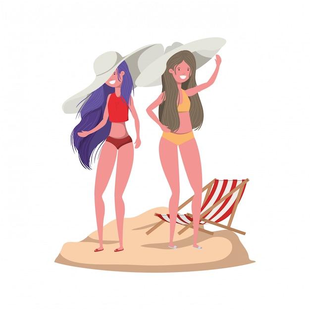 Donne in piedi con il costume da bagno in spiaggia Vettore gratuito