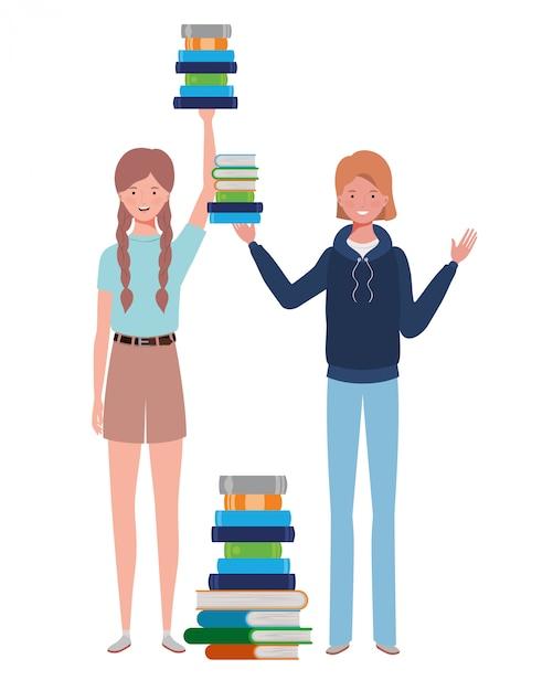 Donne in piedi con una pila di libri Vettore Premium