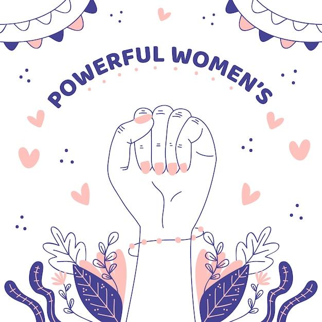 Donne potenti disegnate a mano Vettore gratuito
