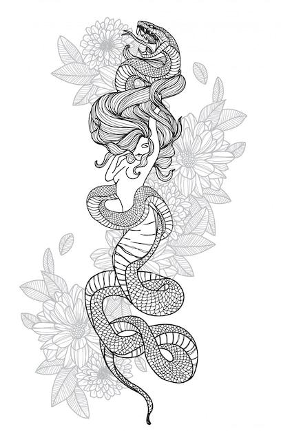 Donne serpenti Vettore Premium
