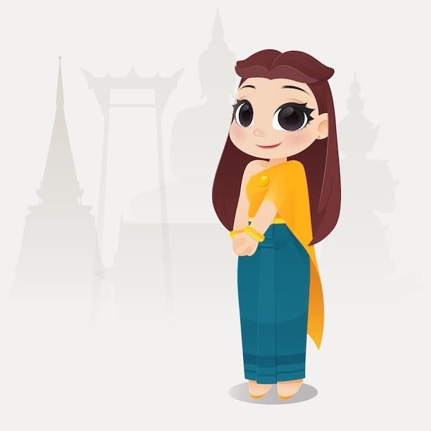 Donne tailandesi dell'illustrazione in vestito tradizionale tailandese Vettore Premium