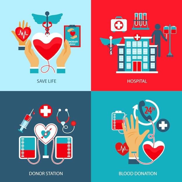 Donor concept set Vettore gratuito