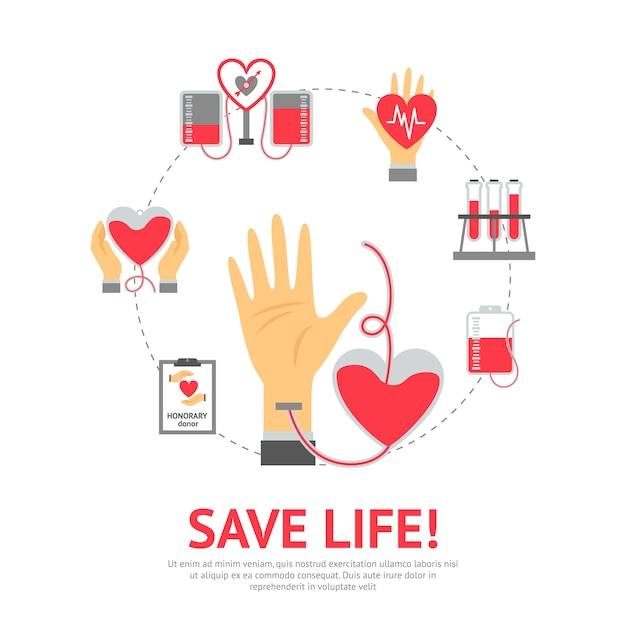 Donor flat concept Vettore gratuito