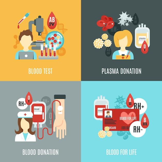 Donor flat set Vettore gratuito