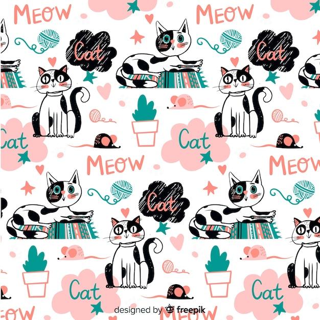 Doodle animali e parole modello Vettore gratuito