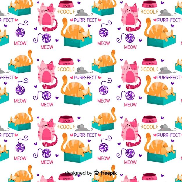 Doodle animali e pattern di parole Vettore gratuito