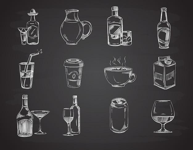 Doodle bevande Vettore Premium