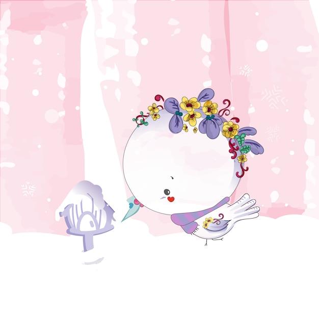 Doodle bird pittura ad acquerello in floreale. Vettore Premium