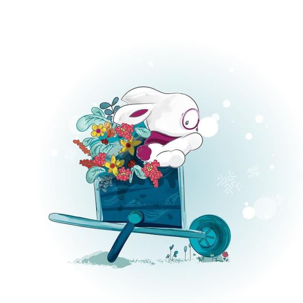 Doodle bunny pittura acquerello in floreale. Vettore Premium
