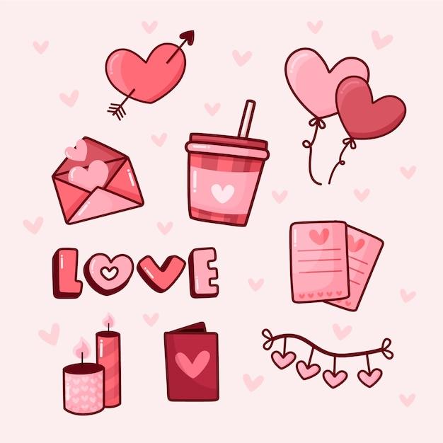 Doodle collezione di elementi di san valentino Vettore gratuito