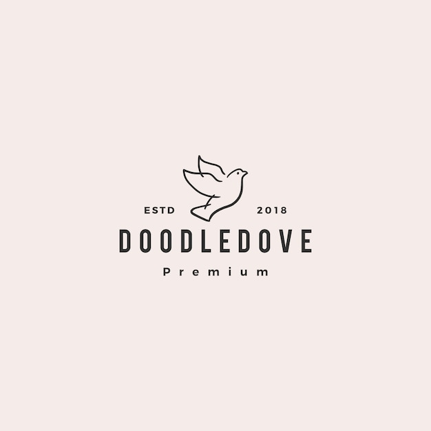 Doodle colomba logo icona illustrazione vettoriale Vettore Premium