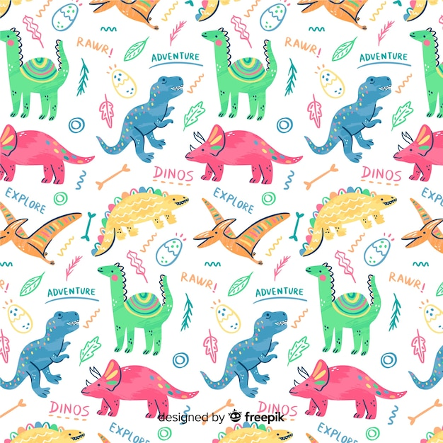 Doodle colorato dinosauri e parole modello Vettore gratuito