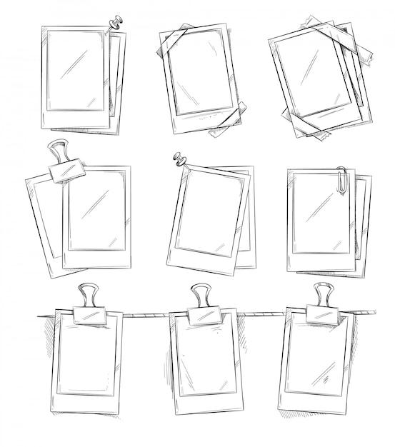 Doodle cornici per foto retrò, album vintage. illustrazione di vettore di foto telaio disegnato a mano Vettore Premium