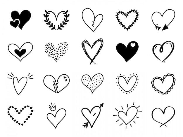 Doodle cuore d'amore. amorevole disegnati a mano disegnati a mano cuori abbozzati, doodle elementi di disegno a forma di cuore di san valentino per biglietti di auguri e set di icone di san valentino. simboli romantici Vettore Premium