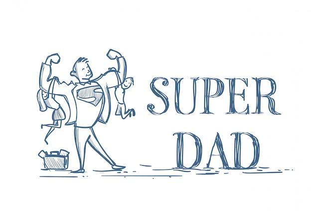 Doodle del figlio e della figlia dei bambini della tenuta eccellente del papà su bianco Vettore Premium