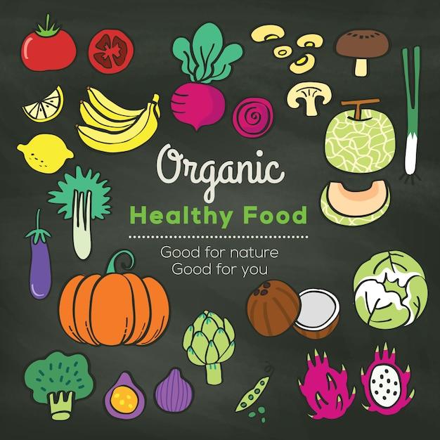 Doodle di alimenti biologici su priorità bassa della lavagna Vettore Premium