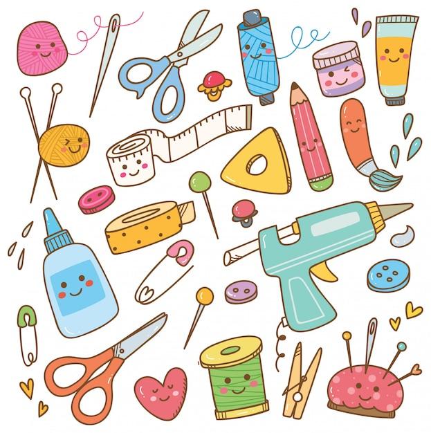 Doodle di attrezzi artistici e artigianali, set di strumenti fai da te Vettore Premium