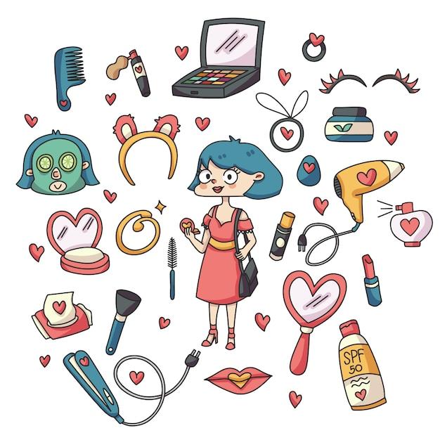 Doodle di carattere carino oggetti di bellezza Vettore Premium