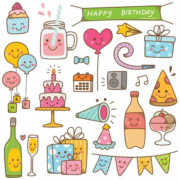 Doodle di compleanno in stile kawaii illustrazione vettoriale Vettore Premium