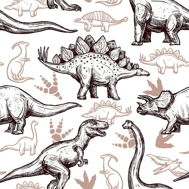 Doodle di due colori senza cuciture di orme di dinosauri Vettore gratuito