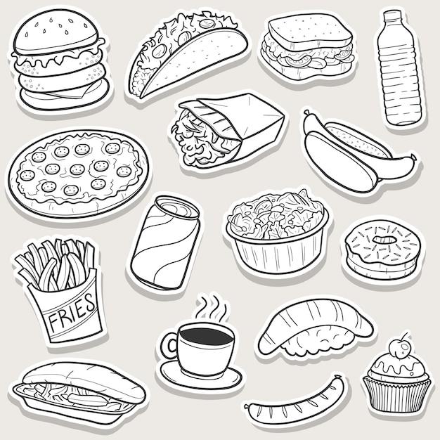 Doodle di fast food, set di adesivi arte schizzo Vettore Premium