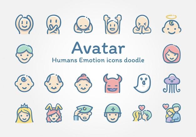 Doodle di icone di emozione di esseri umani avatar Vettore Premium