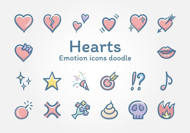 Doodle di icone di vettore di emozioni cuori Vettore Premium