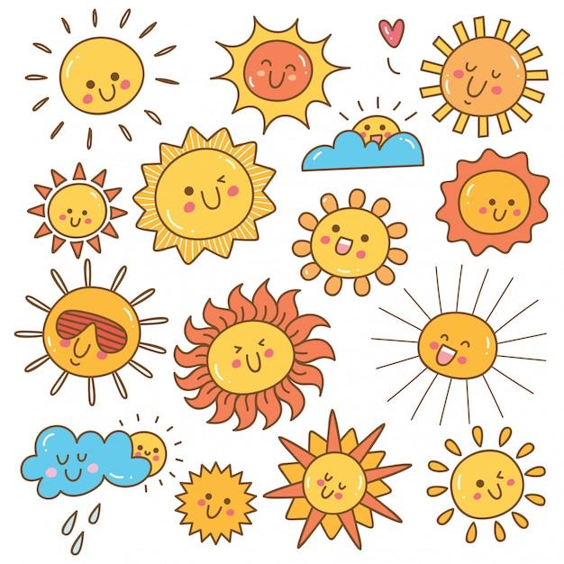 Doodle di kawaii sole, elemento di design sole estivo Vettore Premium