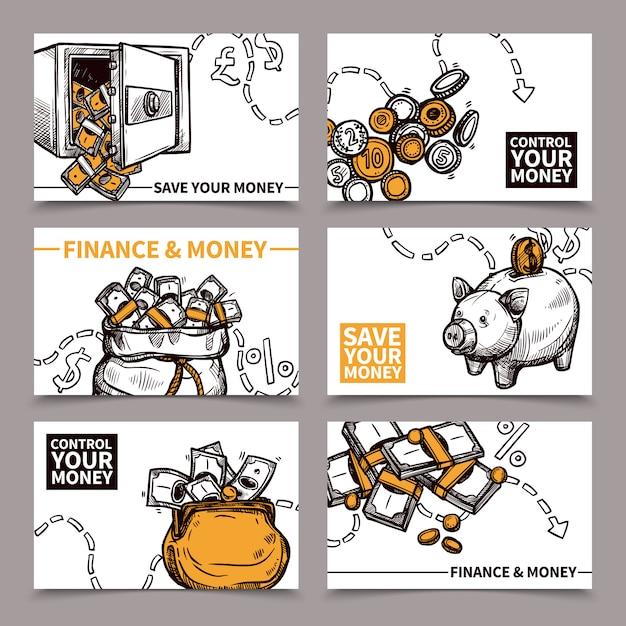 Doodle di pittogrammi di composizione di carte finanza aziendale Vettore gratuito