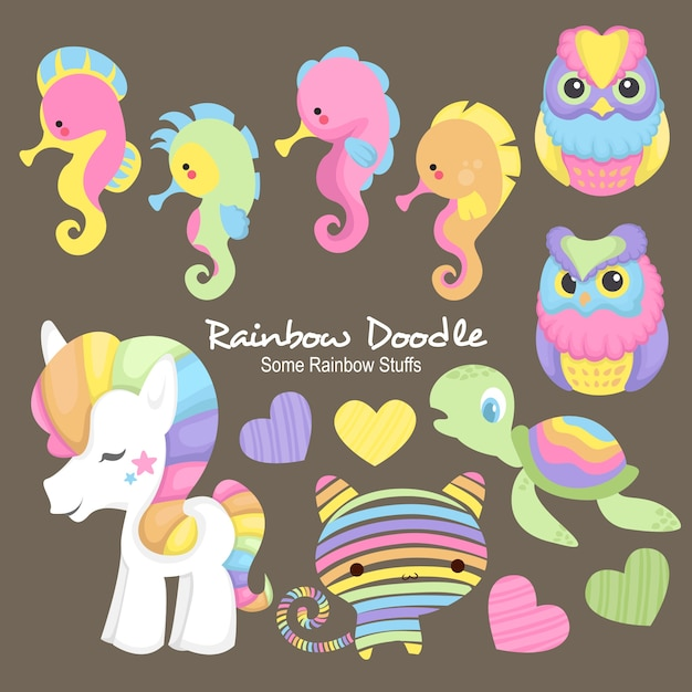 Doodle di sam rainbow objects Vettore Premium
