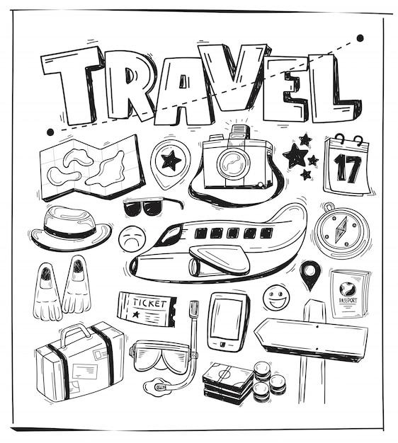 Doodle di tema di viaggio Vettore Premium