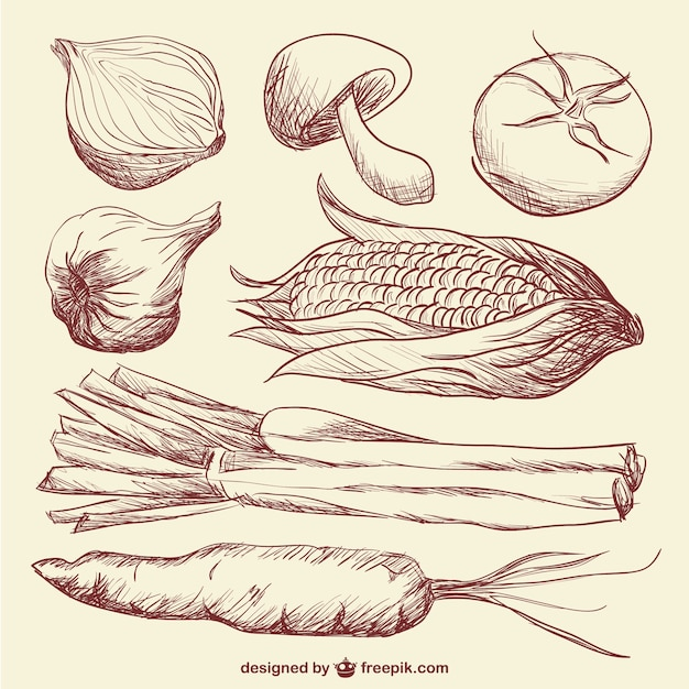 Doodle di verdure arte Vettore gratuito