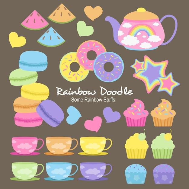 Doodle di wilson rainbow objects Vettore Premium