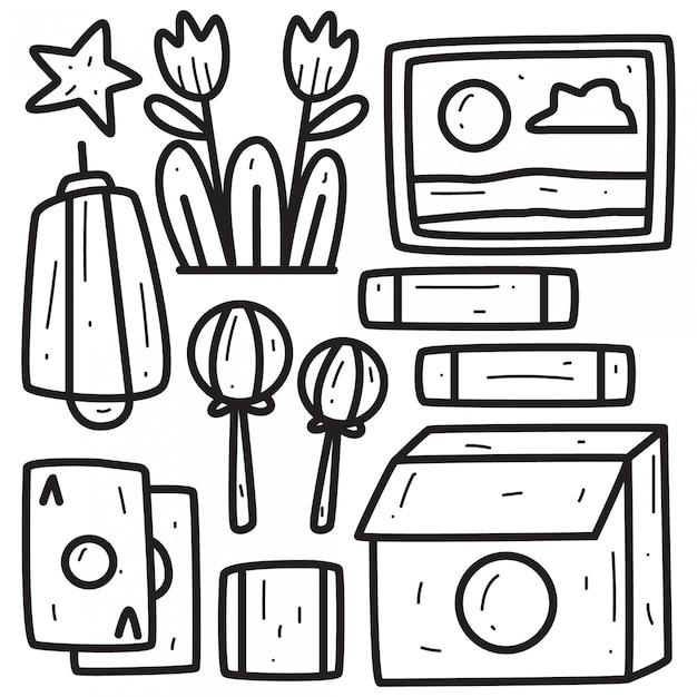 Doodle disegnato a mano disegno astratto Vettore Premium