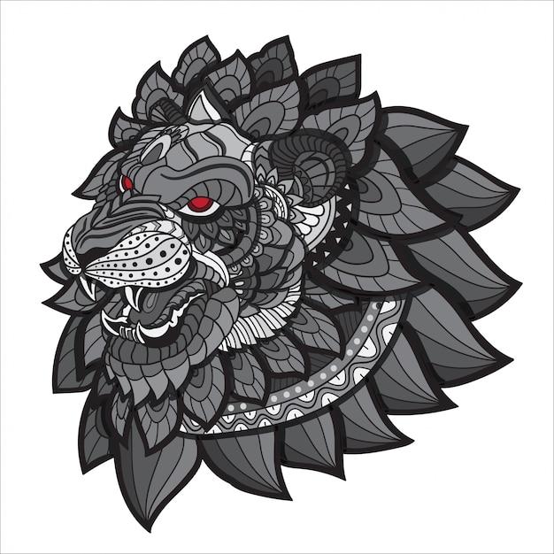 Doodle disegnato a mano zentangle lion illustrazione-vettore. Vettore Premium