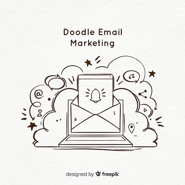 Doodle e-mail marketing Vettore gratuito