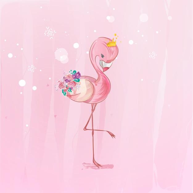 Doodle flamingo pittura acquerello in floreale. Vettore Premium